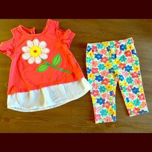Toddler girls top pants outfit SZ 2T Open shoulder